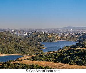 町, 早く, 石, 貯水池, 朝, アンジェルという名前の人たち, los, 峡谷, 見られた, 横切って, 下方に, 光景