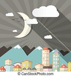 町, 都市, スタイル, 平ら, イラスト, 月, 造園設計, レトロ, 夜, ∥あるいは∥, 山