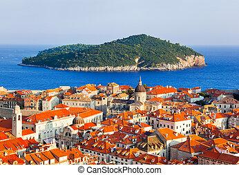 町, dubrovnik, croatia, 島