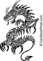 画像的, ドラゴン, 種族, ベクトル, 入れ墨
