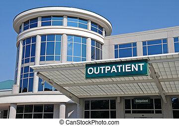 病院, 印, 入口, 外来患者
