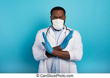 病院, 青い背景, フルである, 患者, infected, 閉じられた, coronavirus., 19, covid, because