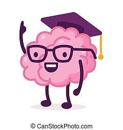 痛みなさい, mortarboard, ピンクの背景, 器官, 神経質, 帽子, 面白い, 卒業, 脳, 人間, 特徴, 漫画, 身に着けていること, システム, 白, イラスト, ベクトル, ふさ
