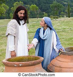 発言, いいえ, そこに, イエス・キリスト, 母, ワイン, mary, 左