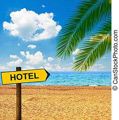 発言, 方向, ホテル, トロピカル, 板, 浜