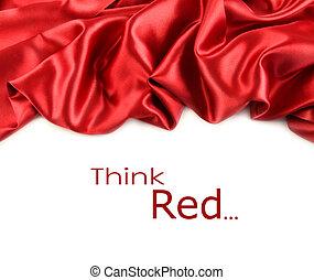 白い朱子織, 生地, に対して, 赤