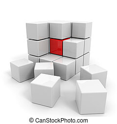 白い立方体, core., 組み立てられた, 赤