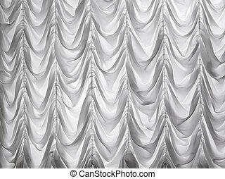 白い背景, theater., かけられた, カーテン