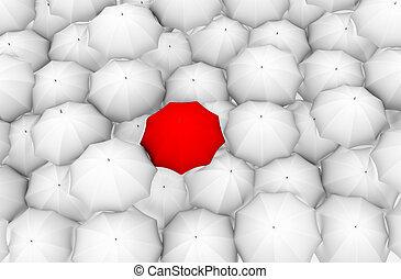 白人の洋傘, 赤, 残り