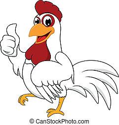 白, オーケー, 鶏, 幸せ