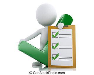 白, クリップボード, checklist., 3d, 人々