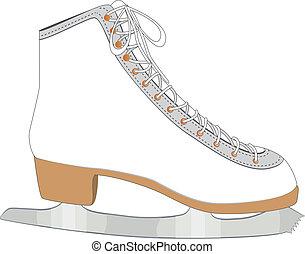 白, スケート, 氷
