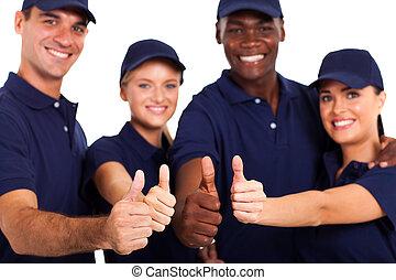 白, スタッフ, の上, サービス, 親指