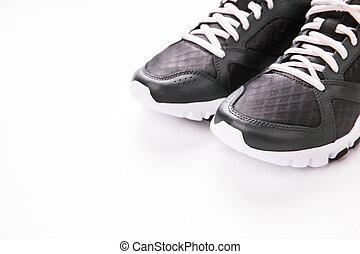 白, スポーツの靴, 背景, 隔離された