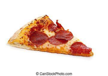 白, スライス, pepperoni ピザ