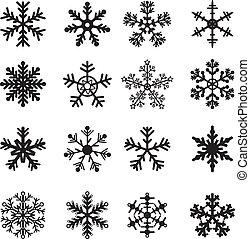白, セット, 黒, 雪片