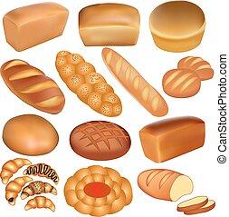 白, セット, bread, ローフ