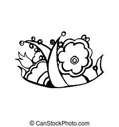白, デザイン, 花, いたずら書き, 引かれる, illustration., 花, group., 構成, 隔離された, ベクトル, バックグラウンド。, 要素, 手