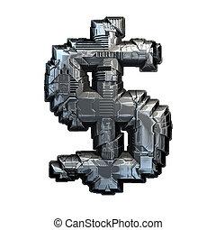 白, バックグラウンド。, 金属, ドル, 作られた, 隔離された, 3d, シンボル