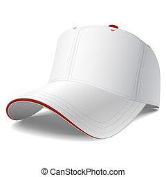 白, 帽子, 野球