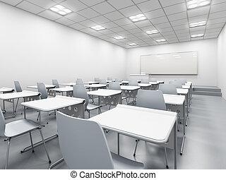 白, 現代, 教室