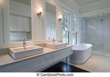 白, 現代, 浴室