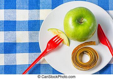 白, 緑, 測定, loss., アップル, テープ, プレート, 重量, 黄色, 栄養
