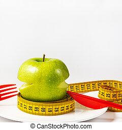 白, 緑, 測定, loss., アップル, テープ, 新たに, 朝食, 重量, プレート