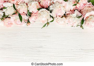 白, 花輪, つぼみ, 作られた, 花, 花, 木製のフレーム, シャクヤク, ピンク, バックグラウンド。, ユーカリ, 光景, 隔離された, ベージュ, 位置, 上, 平ら, ブランチ, 葉