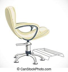 白, 隔離された, バーバー椅子, 背景