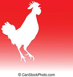 白, 雄ん鶏, イラスト
