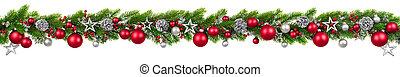 白, 飾られる, クリスマス, 掛かること, 花輪, ボーダー