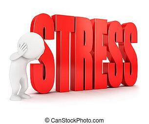 白, 3d, ストレス, 人々