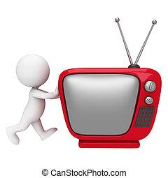 白, 3d, テレビ, 人々