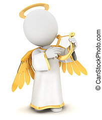 白, 3d, 天使, 人々
