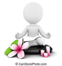 白, 3d, 瞑想, 人々