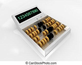 白, calculator-abacus, 背景, 隔離された