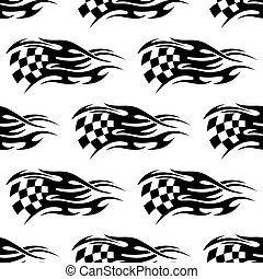 白, checkered, 黒, 旗