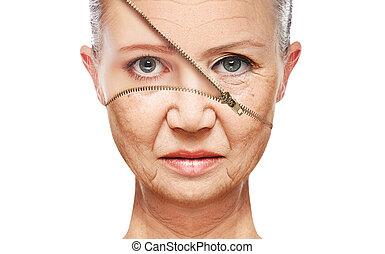 皮膚, aging., 持ち上がること, 反老化, 美顔術, 若返り, 概念, きつく締まること, プロシージャ