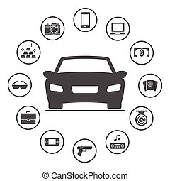 盗まれた, 円形にされる, アイコン, 単純である, もの, set., cars., 一般に, ベクトル, デザイン, 保険, アイコン