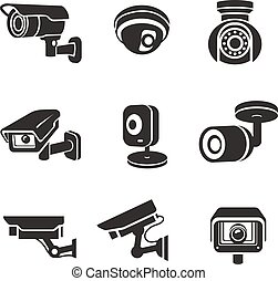 監視, ビデオカメラ, セット, アイコン, pictograms, グラフィック, セキュリティー