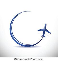 目的地, 旅行, 概念, イラスト, 飛行機