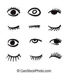 目, 黒, イラスト, セット, ベクトル, 手, 引かれる, 白