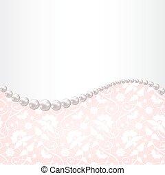 真珠, フレーム, レース, 背景