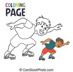 着色, ページ, プレーヤー, スケート, 漫画, ローラー