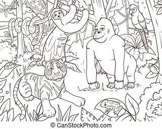 着色, 動物, 漫画, ベクトル, ジャングル, 本