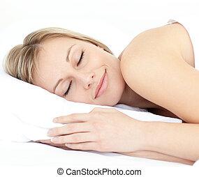 睡眠, 女 ベッド, 放射, 彼女