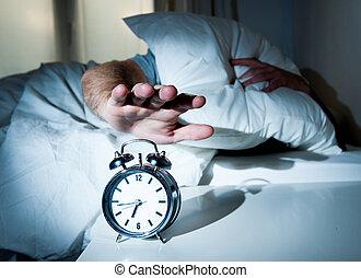睡眠, 早く, 時計, 人, 朝, 悩まされた, 警報