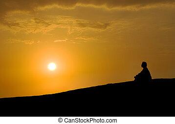 瞑想, 日没, 下に