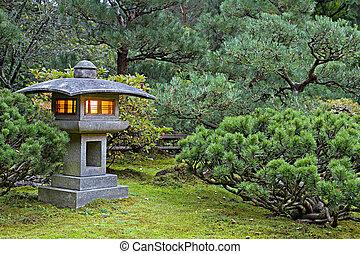 石のランタン, 日本の庭